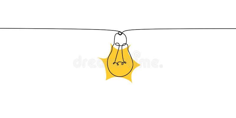 Un dessin au trait de fond minimaliste de conception d'illustration de vecteur d'ampoule illustration libre de droits