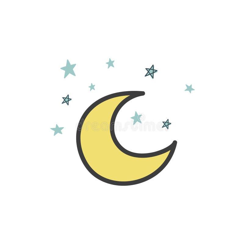 Un Dessin D Une Lune Jaune Avec Les Etoiles De Style Du Griffonnage Illustration De Vecteur Dessin Tir Par La Main Illustration Stock Illustration Du Jaune Griffonnage 155067599