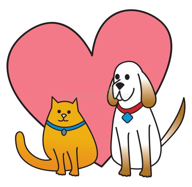 Chien et chat avec le coeur illustration stock