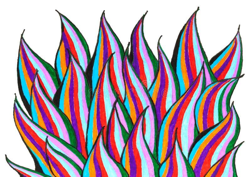 Un dessin de main de peu de flammes sur le livre blanc illustration stock