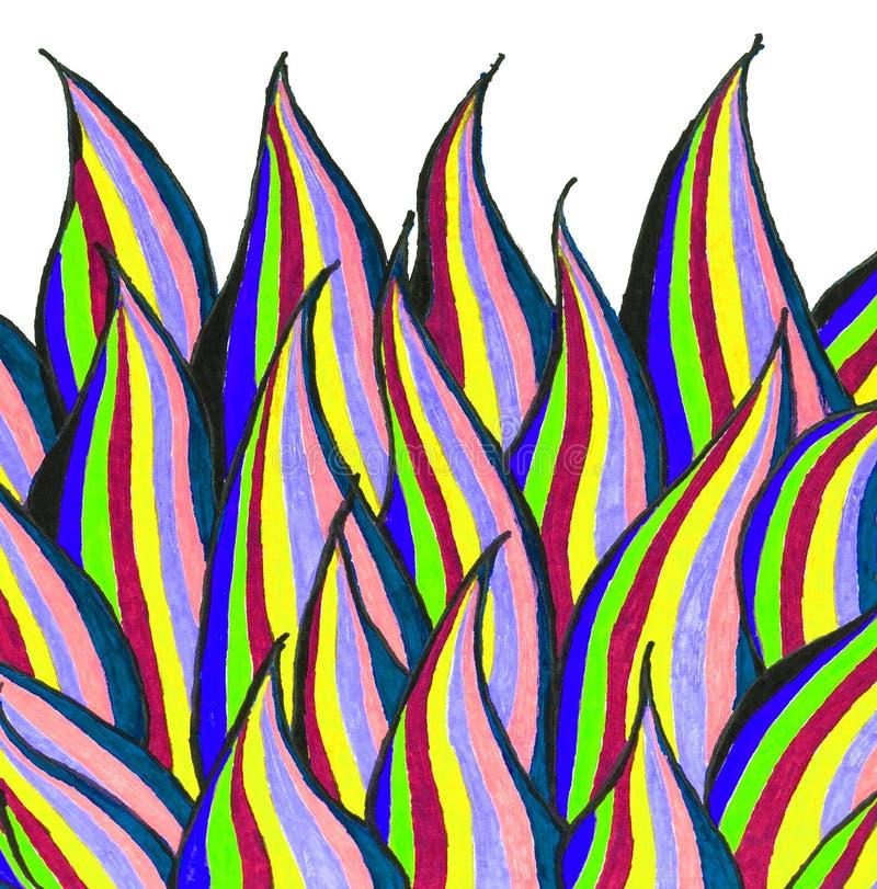 Un dessin de main de peu de flammes sur le livre blanc illustration libre de droits