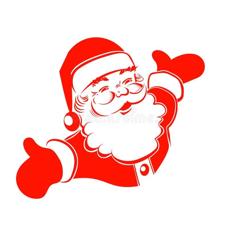 Un dessin des mains de Santa Claus sont multipliés dans différentes directions illustration stock
