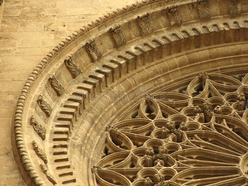 Un detalle en la catedral en Palma, España imagenes de archivo