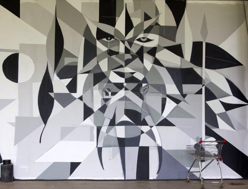 Un dettaglio dei graffiti di III di arti biennale brasiliano dei graffiti fotografie stock