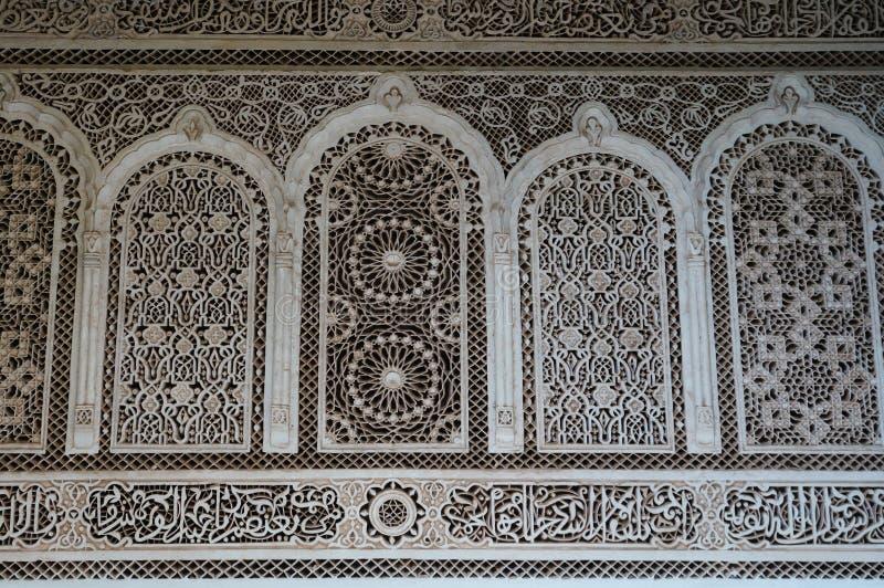 Un dettaglio di uno stucco di stile di moresco a Marrakesh fotografia stock libera da diritti