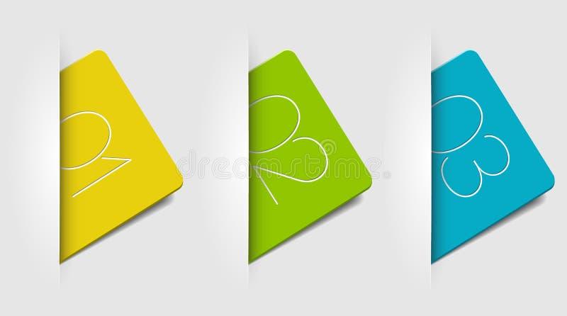 Un deux trois - cartes de vecteur avec des numéros illustration libre de droits
