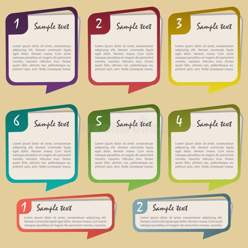 Un deux trois quatre cinq six - étapes de progrès de papier de vecteur pour le cours illustration stock