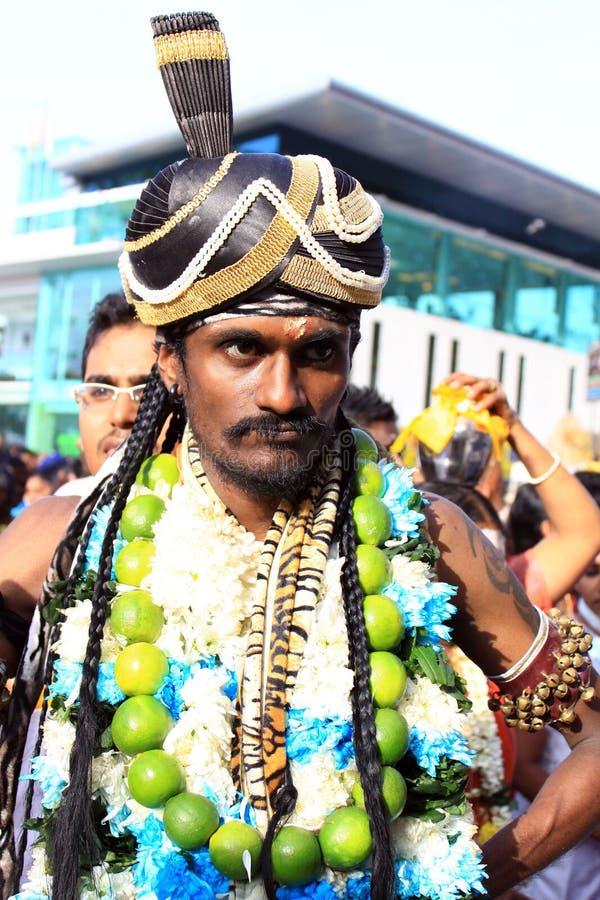 Un devoto nel festival indù di Thaipusam. fotografia stock
