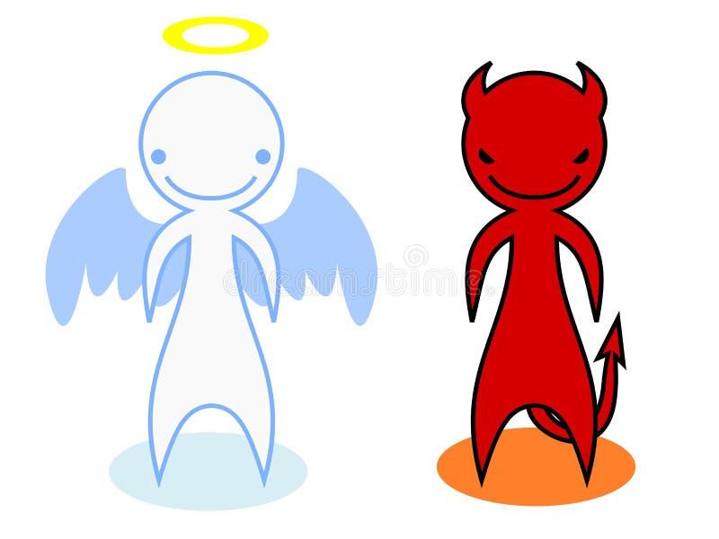 Un diablo y un ángel stock de ilustración