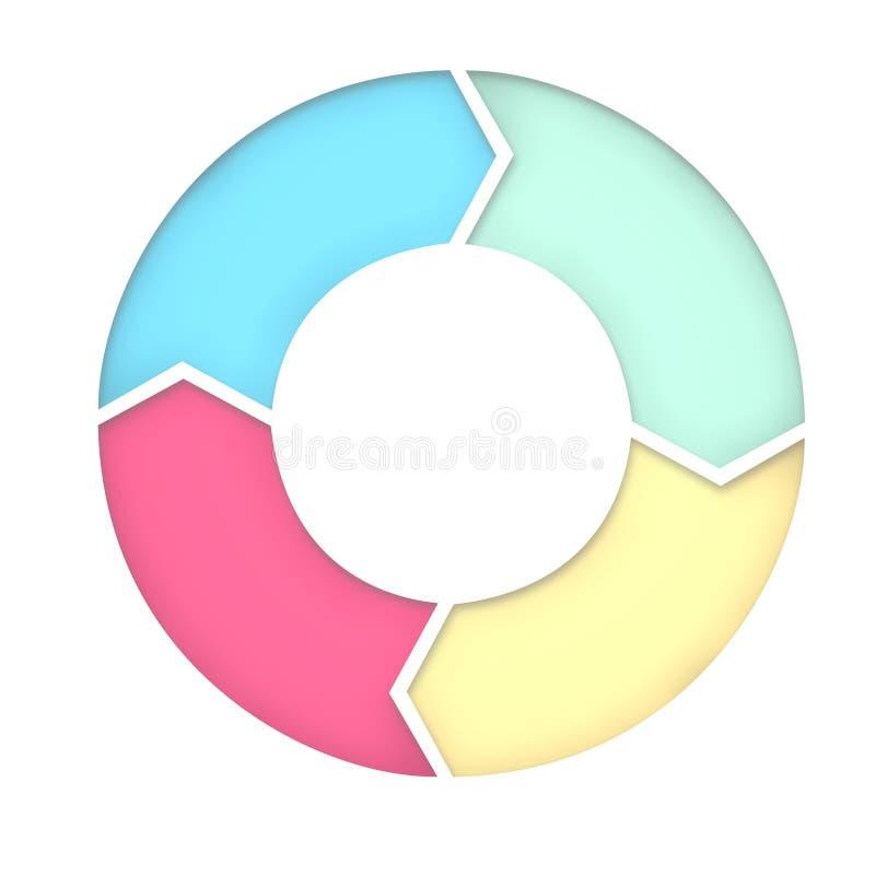 un diagramma di 4 punti per il fondo di presentazione illustrazione di stock