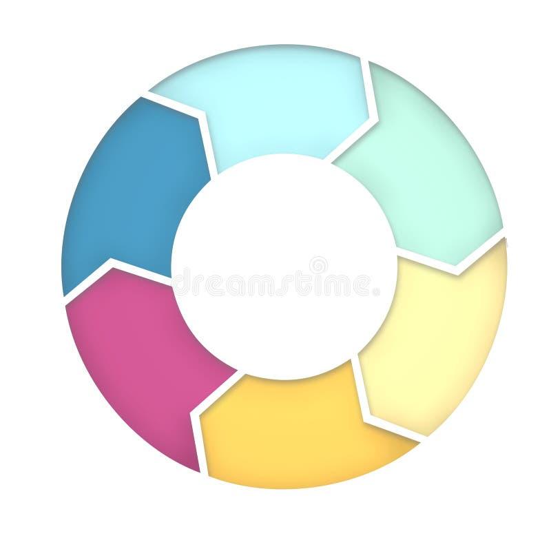 un diagramma di 6 punti per il fondo di presentazione illustrazione di stock