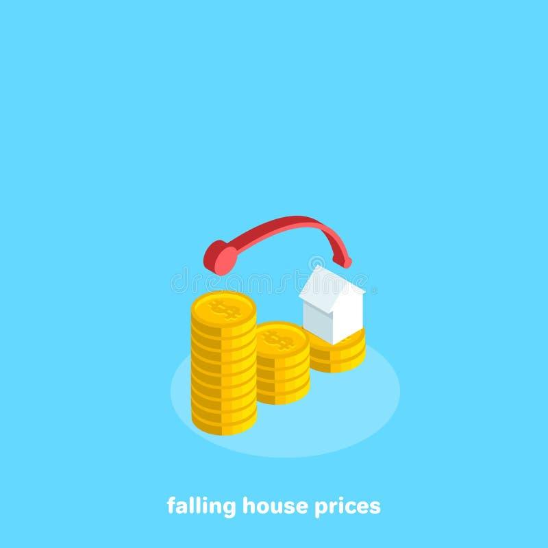 Un diagramma ha costruito delle monete che significano un calo nel prezzo del bene immobile royalty illustrazione gratis