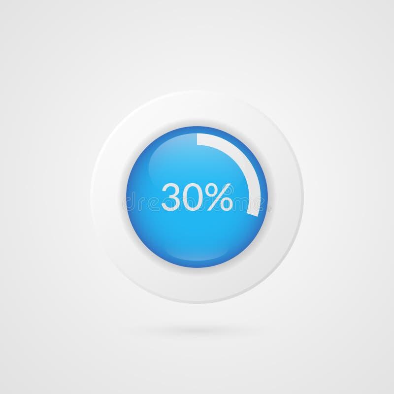 un diagramma a torta di 30 per cento Infographics di vettore di percentuale Simbolo isolato trenta diagrammi circolari Icona dell illustrazione vettoriale