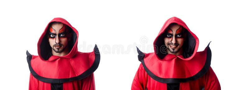 Un diavolo in costume rosso immagini stock