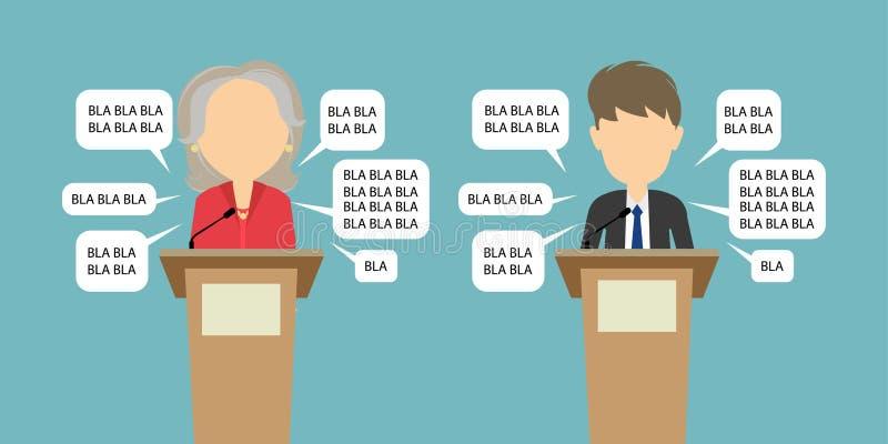 Un dibattito di due altoparlanti illustrazione di stock