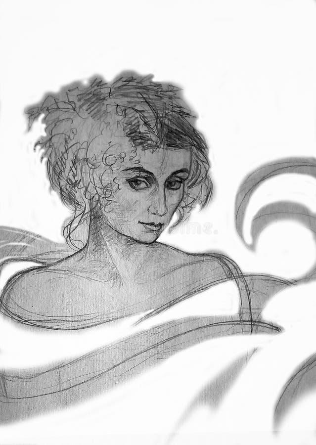 Un dibujo de lápiz áspero de una mujer en un fondo blanco ilustración del vector