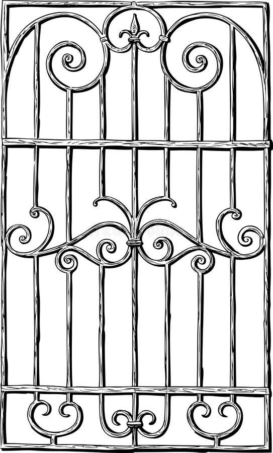 Un dibujo de la mano de una parrilla de ventana decorativa ilustración del vector