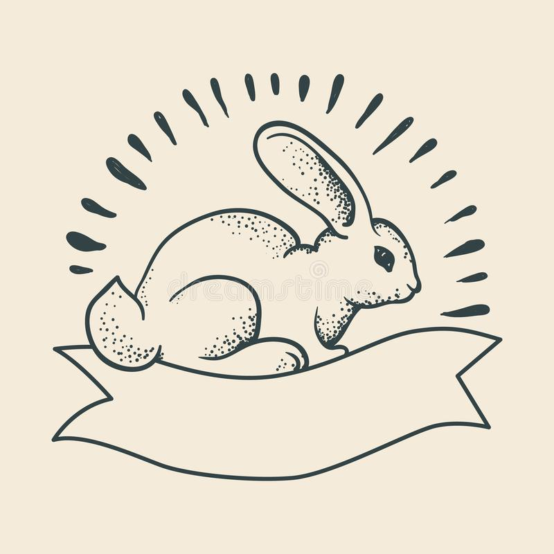 Un dibujo del conejo en el estilo de un tatuaje tradicional Escuela vieja libre illustration