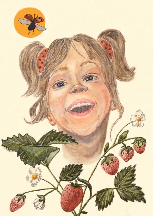 Un dibujo hecho a mano de una niña de risa, mirando fuera de una planta de fresa stock de ilustración