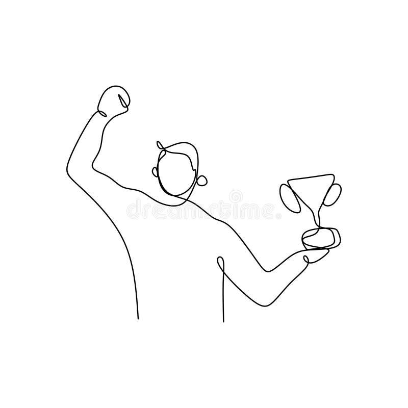 un dibujo lineal continuo de un hombre que sostiene una taza que gana libre illustration