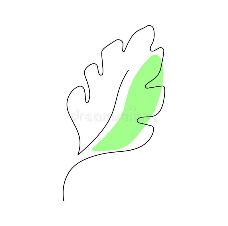 Un dibujo lineal continuo de la hoja del monstera Línea arte del minimalismo del contorno del arte para el icono del logotipo, di stock de ilustración