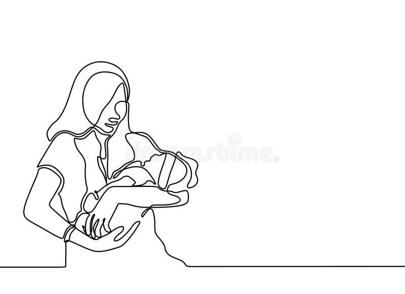 un dibujo lineal continuo del bebé nacido y del diseño minimalista de la madre Concepto del amor y de la felicidad de mamá libre illustration