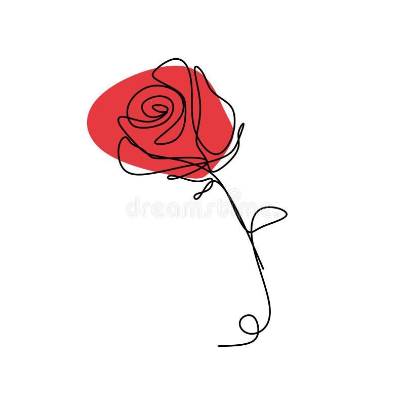 Un dibujo lineal continuo del ejemplo color de rosa del vector de la flor aislado en el fondo blanco libre illustration