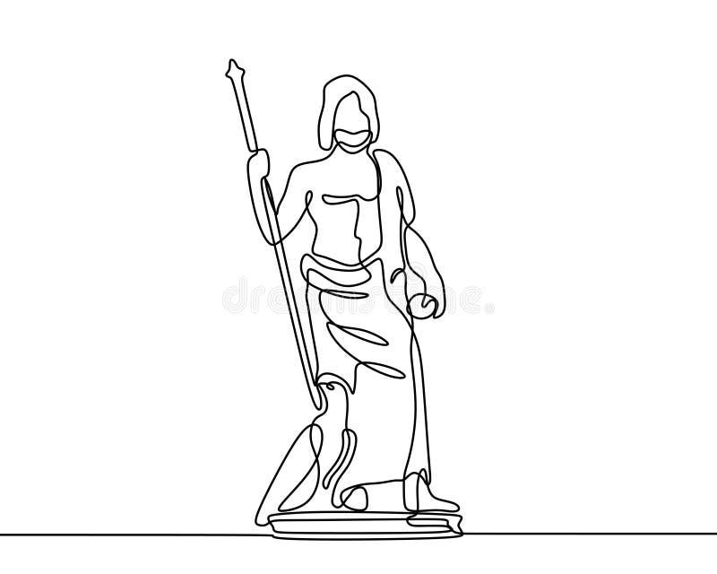 Un dibujo lineal continuo del estilo minimalista del minimalismo del ejemplo del vector del diseño de Zeus libre illustration