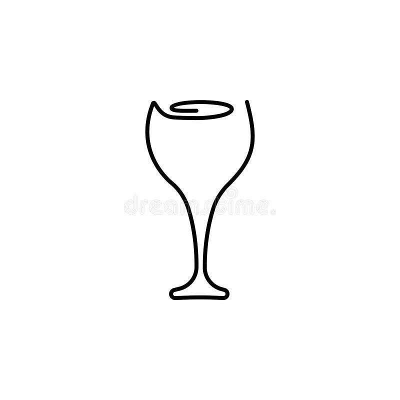 Un dibujo lineal continuo Vidrio de vino Ilustraci?n del vector libre illustration