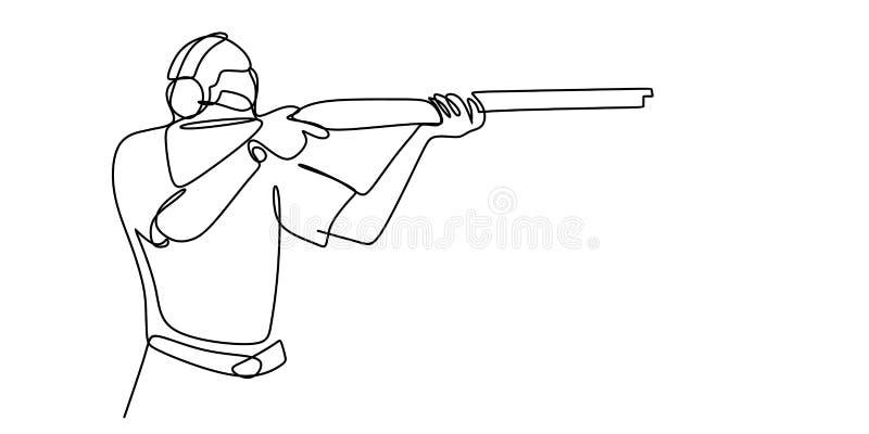 un dibujo lineal de un hombre que sostiene un arma libre illustration
