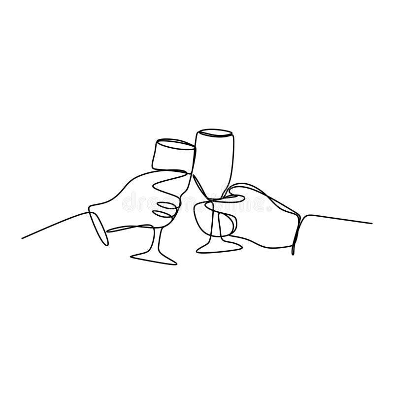 Un dibujo lineal de tintinear de las alegrías de amigos con la bebida del vino del borbón en noche del partido después del ejempl libre illustration