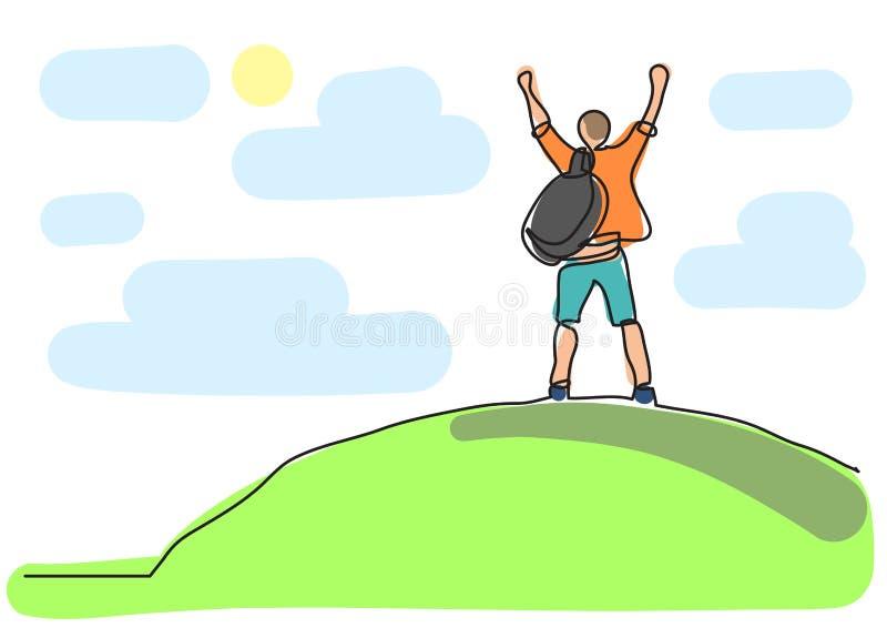 Un dibujo lineal del hombre en el top del mundo ilustración del vector