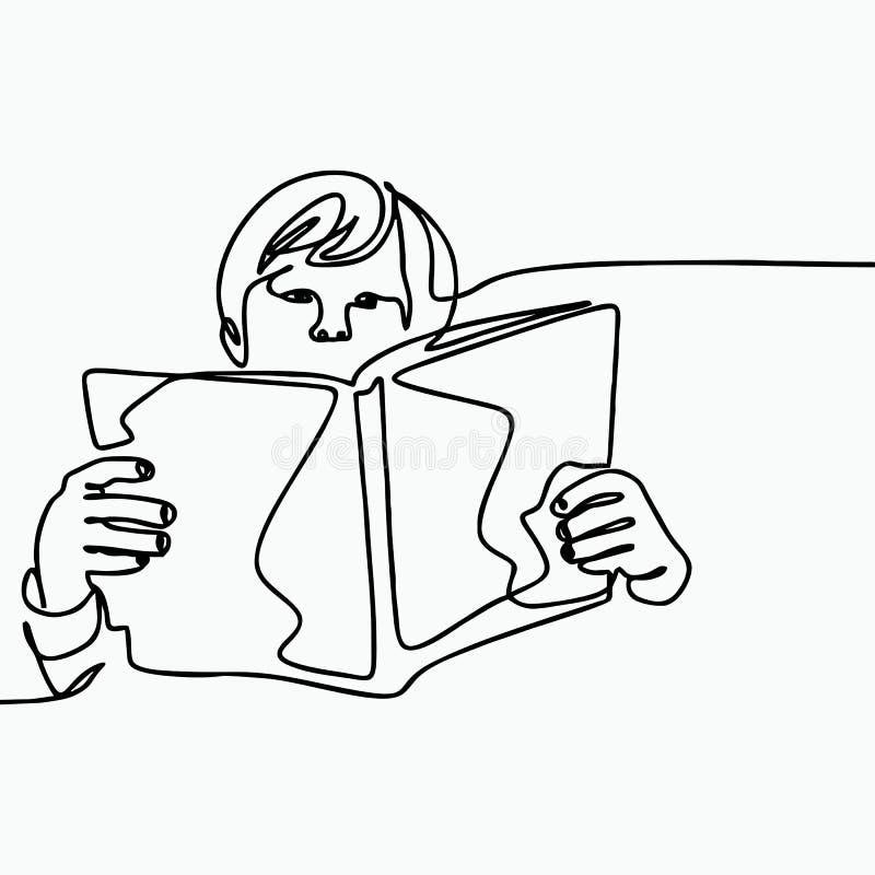 Un dibujo minimalista continuo con un niño que lee un libro ilustración del vector