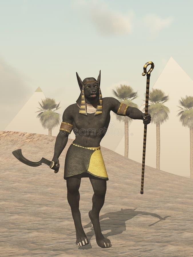 Un dieu égyptien d'Anubis des morts illustration libre de droits
