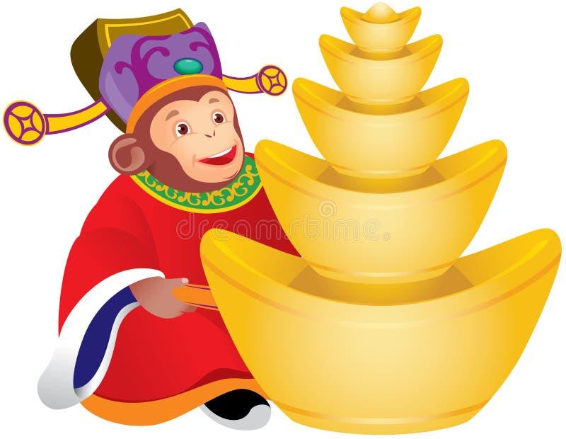 Un dieu chinois de singe de la prospérité illustration stock