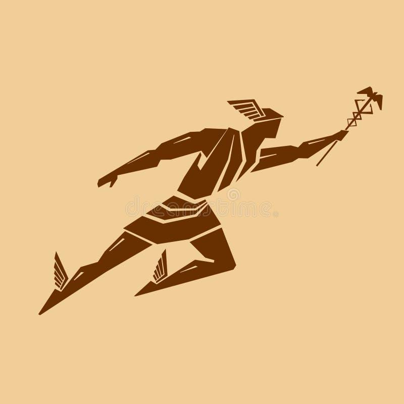 Un dieu du grec ancien du commerce et de voyage Hermes ou Mercury illustration de vecteur