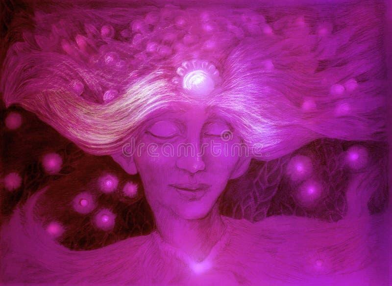 Un dieu pourpre du vent étoilé, dessin détaillé ornemental illustration stock