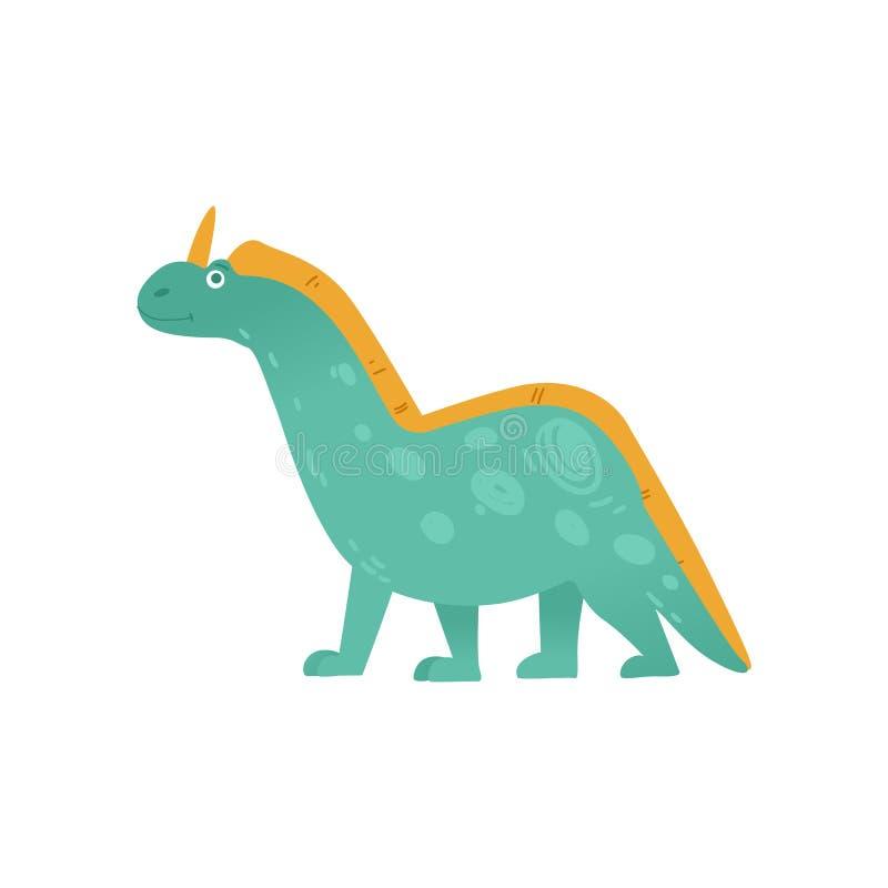 Un dinosaure herbivore mignon avec un klaxon dans le style plat de bande dessinée illustration stock