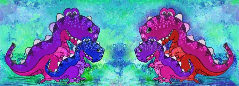 Un dinosaure, un personnage de dessin animé Figure avec les peintures acryliques Illustration pour des enfants handmade Employez  illustration stock