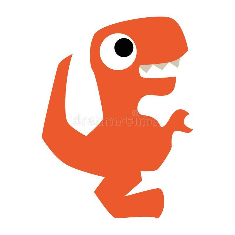 Un dinosaurio anaranjado de la historieta linda del vector aislado libre illustration