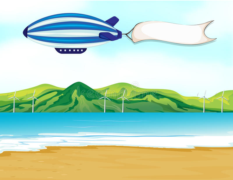 Un dirigeable de rayure avec une bannière blanche illustration libre de droits