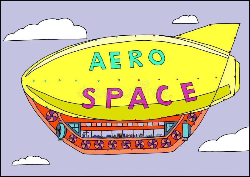 Un dirigible no rígido vuela en el cielo stock de ilustración