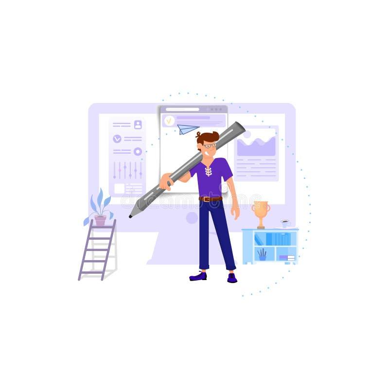 Un diseñador de sexo masculino continúa sus hombros una aguja enorme contra un monitor ilustración del vector