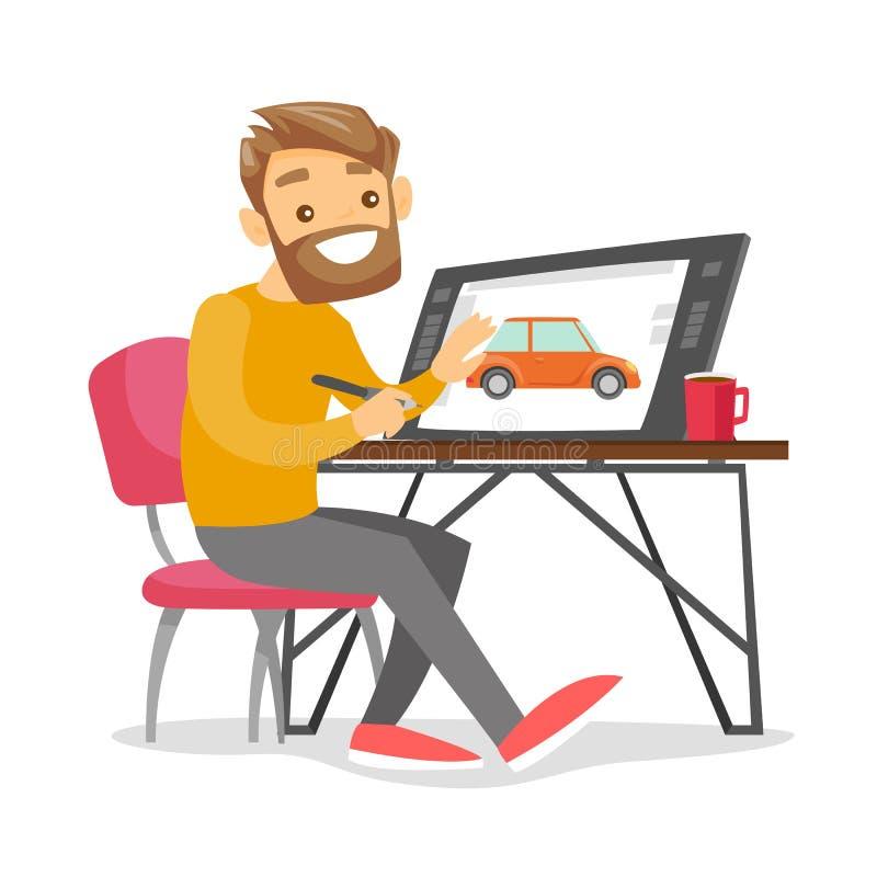 Un diseñador gráfico del hombre blanco trabaja en el escritorio de oficina libre illustration