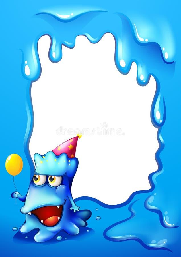 Un Diseño Azul De La Frontera Con Un Monstruo Que Lleva Un Sombrero ...