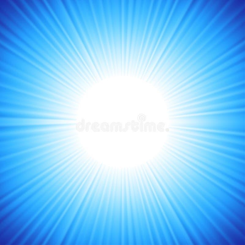 Un diseño azul del color con una explosión. ilustración del vector