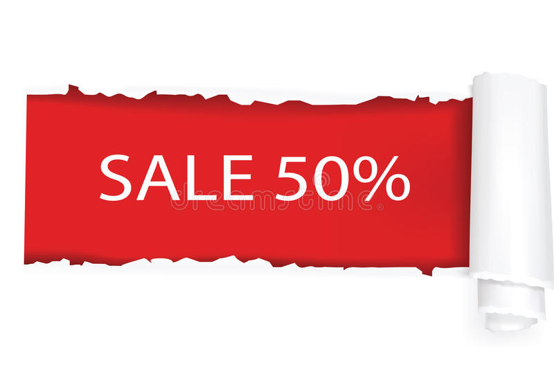 Un diseño del fondo de la venta del 50%. ilustración del vector