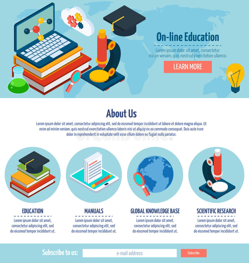 Un diseño en línea de la educación de la página libre illustration