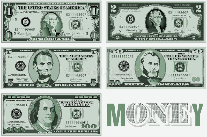 Un diseño tipográfico de veinte billetes de dólar stock de ilustración