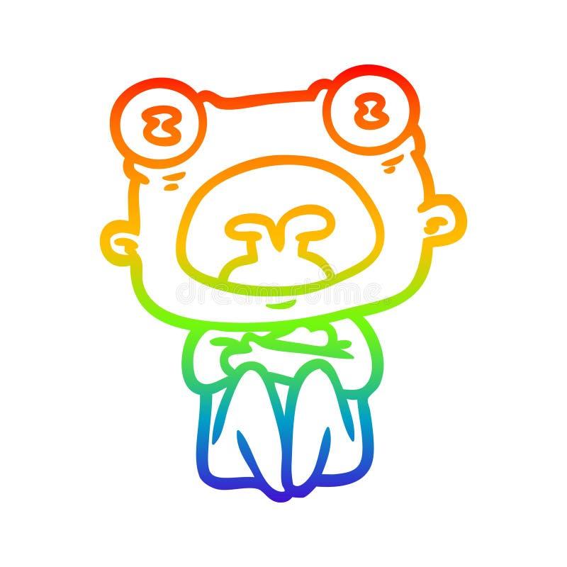 Un disegno di disegno con gradiente di arcobaleno creativo di un alieno bizzarro illustrazione di stock